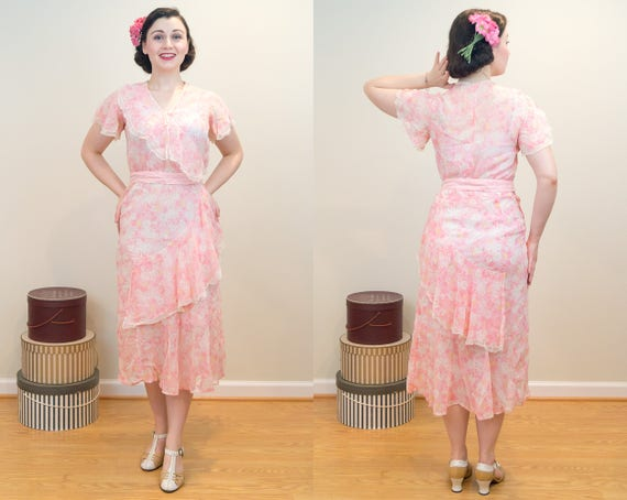 Trimmed Vintage Tiers Dress 1930s and Dress Flutter Cotton Floral Lace with and Pink Sleeves Light Flirty PAxx7Tn