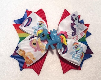 Rainbow Dash Hair Bow - My Little Pony - Stacked Boutique Pinwheel Bow w Rainbow Dash Embellishment on Partially Lined Clip - Girls