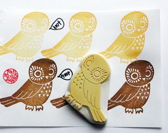 owl rubber stamp | bird stamp | woodland animal card making | diy christmas gift wrapping | craft gift for her | hand carved by talktothesun