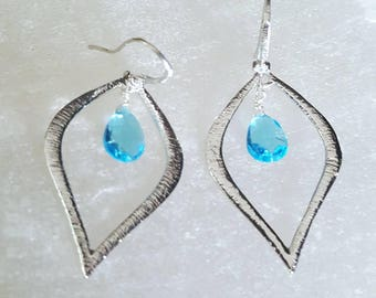 Swiss Blue Topaz Bohemian Chic Silver Textured Shapely Hoop Earrings Everyday Hoop Earrings Gift for Her