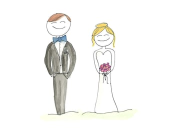 Bride and Groom watercolor downloadable Printable 8x10