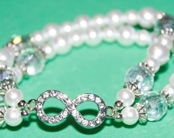 White Pearl Bracelet (2-strand) with Silver Infinity Connector and Clear Crystals; Earrings included; Silver Infinity Connector