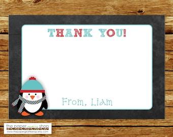 Penguin Thank You Card | Blue Penguin Thank You | Blue Penguin Thank You Card | Winter Wonderland Thank You Card | DIY Printable