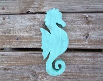 Artisan crafted,recycled pallet/barn wood cut seahorse wall home decor accent sea breeze aqua blue beach,nautical decor
