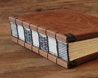 Wood Wedding Guest Book or Unique Journal Mahogany Wood Cabin Guestbook anniversary book lover gift custom memorial book - ready to ship