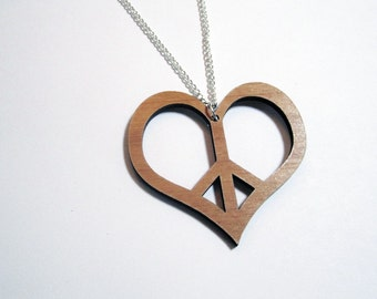 Large Heart Peace Necklace Laser Cut Wooden Heart PEACE SIGN PENDANT on 24 inch Silver Plated Chain
