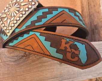 Rio Grande hand tooled personalized leather trophy buckle western belt
