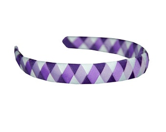 Purple Headband with Three Shades of Purple and White - Woven Headband - Braided Headband