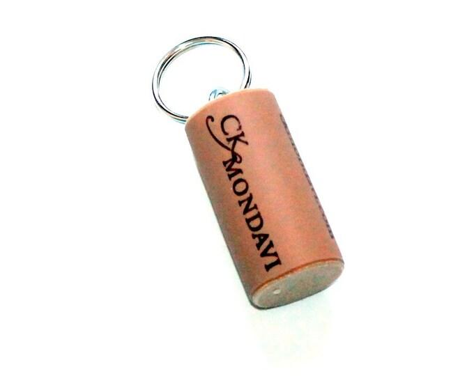 WINE CORK KEYCHAIN, Ck Mondavi, Floating, Multiple Key, Bell Art Designs, KC0201