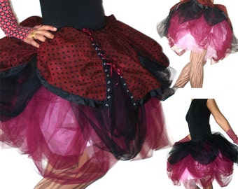 OOAK Handmade tulle skirt with cotton overskirt - Skirt of Epic Proportions - Kezbirdie