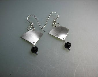 Brushed Sterling Silver Dangle Earrings with Black Crystal