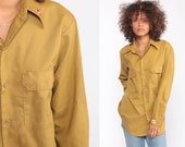 70s Boho Shirt EMBROIDERED Floral Shirt Mustard Oxford Cotton Button Up Shirt Bohemian Long Sleeve 1970s Vintage Disco Hippie Small Medium