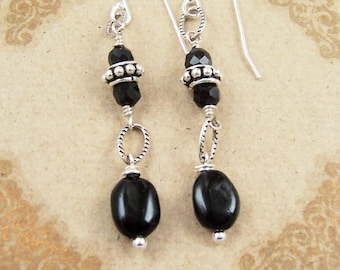 Black Tourmaline Earrings Sterling Silver Bali Bead Black Onyx Gemstone Jewelry Rustic Bridesmaid Earrings Black Wedding Jewelry