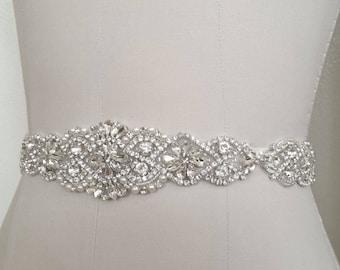 """29"""" Wedding Bridal - Crystal Pearl Wedding Sash Belt = 29 inch long"""