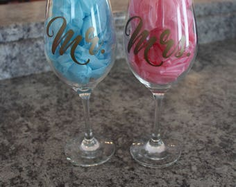 Mr and Mrs Wine Glass Set, His and Hers Wine Glasses