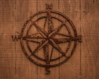 "Rustic Nautical Compass Rose Metal Sign - 15"" - Home Decor - Wall Art - Outdoor/Indoor"