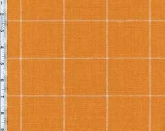 Yellow Orange Windowpane Plaid Home Decor Linen, Fabric By The Yard
