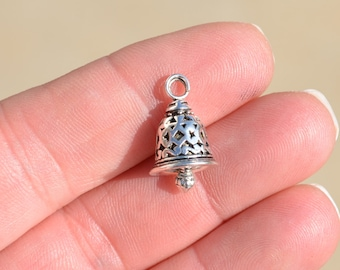 5 Silver Bell Charms SC2513