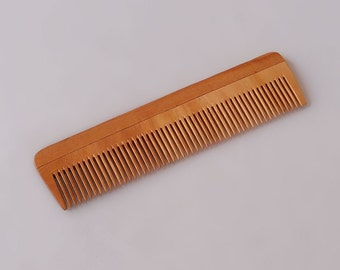"""Handcrafted Neem Wood Comb - Anti Dandruff, Non-Static and Eco-friendly- Great for Scalp and Hair health -7"""" Fine toothed"""
