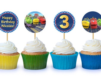 "2""x2"" Chuggington Cupcake Toppers/Stickers - Printable PDF"