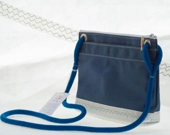 Corsica Crossbody Bag, Sapphire Canvas, Recycled Dacron Sails, Sail cloth Bag, Upcycled Sailcloth