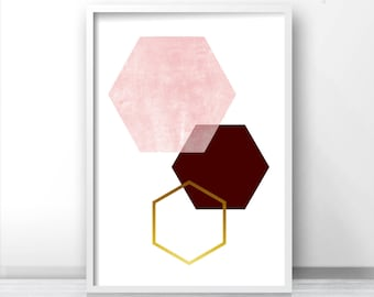 Burgundy and Rose Print Bordo and Gold Wall Art Geometric Print Honeycomb Art Hexagon Poster Scandinavian Print Burgundy Gold Decor *193.b*