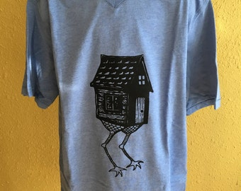 Baba Yaga Hut Blue Screen Printed Youth V-Neck T-Shirt Large