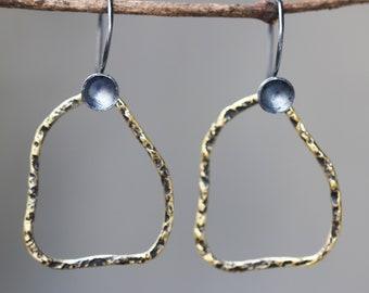 Freeform shape earrings brass in oxidized with sterling silver hooks style