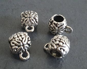 x 6 bails flowers silver 10x8mm