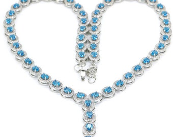 """Sterling Silver Swiss Blue Topaz Gemstone & AAA CZ Accents Necklace 19"""""""