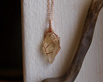 Genuine Oregon Sunstone Necklace, Raw Sunstone Necklace, Rose Gold Sunstone Pendant, Crystal Gift for Best Friend, Boho Fashion Jewelry