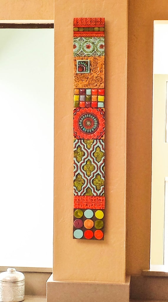 Ordinaire Vertical Wall Art Mosaic Wall Art Wall Art Ceramic Wall Art Stick Pattern U0026  Texture Clay Tile Mounted Wall Art Pottery Boho Decor Narrow Art
