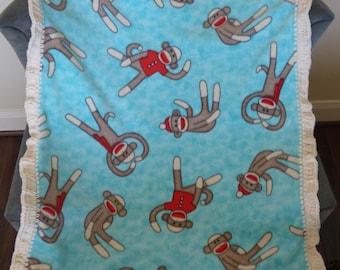 Sock Monkey Fleece with Crochet edges baby blanket - FREE Shipping