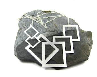 Silver Geometric Necklace, Long Statement Necklace, Large Pendant Necklace, Geometric Jewelry, Squares Necklace, Bold Necklace, Bohemian