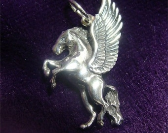 Mythology PEGASUS Winged HORSE Charm in Sterling SILVER
