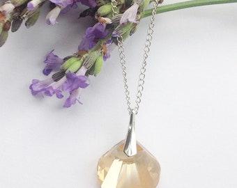 Swarovski crystal shell necklace, Sterling silver necklace, mermaid shell necklace, clam shell necklace, crystal necklace, mermaid necklace