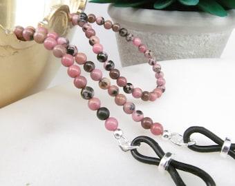 Gemstone reading glasses holder; pink glasses chain; eyeglass chain; glasses leash; spectacles holder; gemstone; optical chain; kalxdesigns