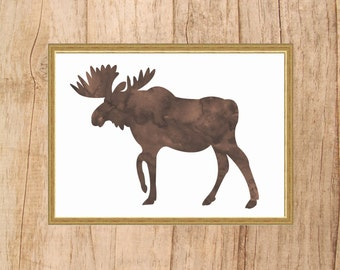 Moose Print, INSTANT DOWNLOAD, Digital Downloaded Print, Watercolor Moose Print, Rustic Wall Art, Animal Nursery Print, Moose Art