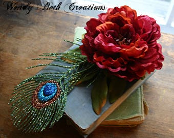 Red Peony and Faux Peacock Feather Hair Clip Fascinator - Vegan, ATS, Tribal, Belly Dance, Peacock, Hair Garden, Red