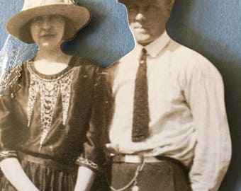 Mixed media vintage couple and dog picture