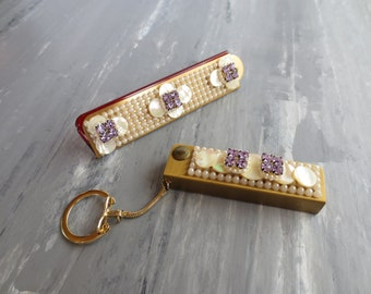 Rosalite by Wiesner of Miami, Folding Pocket Comb and Key-chain Address Book set, 1950's Retro, Free Shipping!