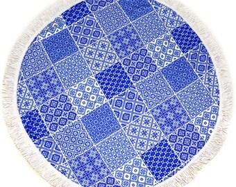 Sale!!!Blue Round Towel- Beach Towel, Yoga Mat, tablecloth,Throw,Blanket