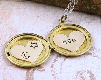 Personalized Necklace for Mom, Locket Necklace, Star and Moon Necklace, Celestial Jewelry, Custom Name Necklace
