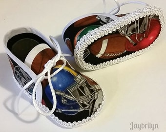 American Football Theme Shoes for Baby Boy - Cute Handmade Shoes for Newborn Baby Boy - Different and Unique Baby Shower Gift for Boy