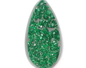 DVH 13 ct. Uvarovite Green Garnet Druzy Drusy Cabochon 22x11x5mm (9602)