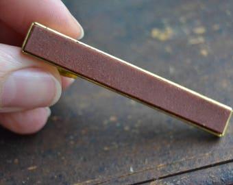 Vintage inlaid brown stone tie clip, Tie bar clip, elegant tie bar, vintage tie clip, vintage jewelry, vintage brass tie clip gent's fashion