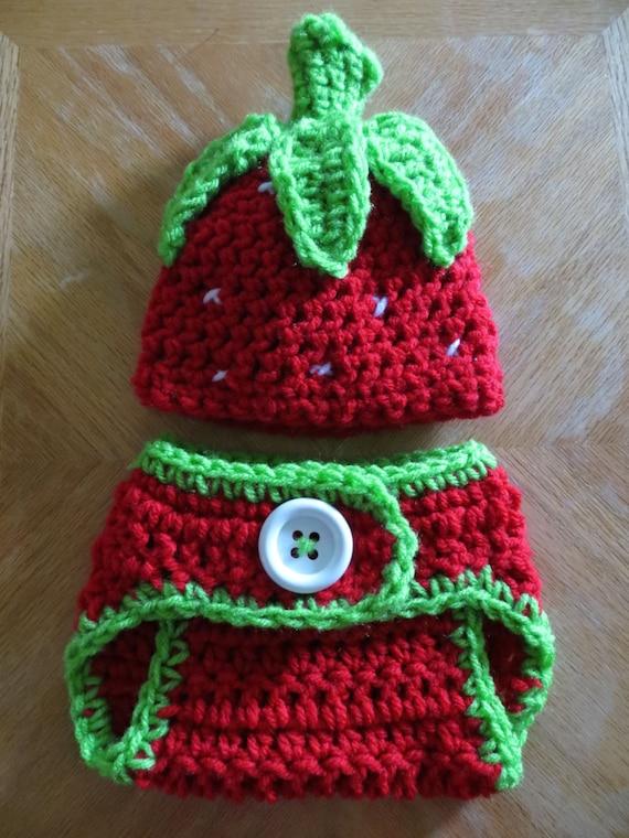 Crochet STRAWBERRY Set newborn photo props shower gift