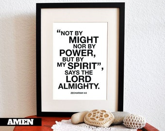 Zechariah 4:6. By the Spirit. 8x10. DIY Printable Christian Poster. Bible Verse.