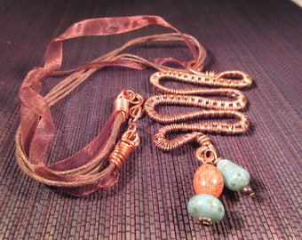 Unique Copper Leather Beaded Necklace