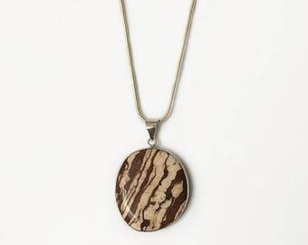 Vintage 1980's Silver Brown Zebra Jasper Stone Round Smooth Pendant Statement Necklace 24 Inches